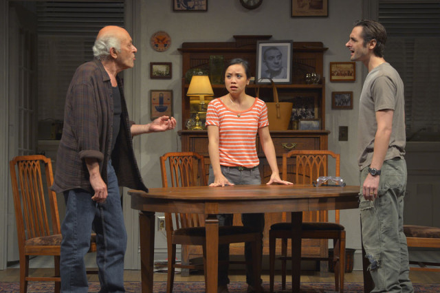 "(l to r) At Berkeley Rep, Mark Margolis (Gus), Tina Chilip (Sooze), and Joseph J. Parks (Vito) in Tony Kushner's ""The Intelligent Homosexual's Guide to Capitalism and Socialism with a Key to the Scriptures."" Photo courtesy kevinberne.com."