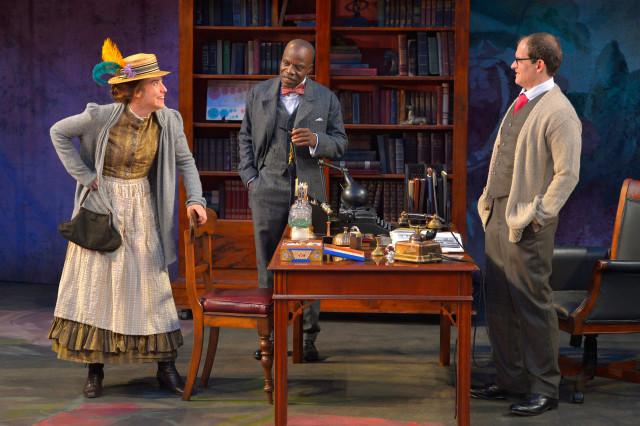 (L to R) Irene Lucio as Eliza Doolittle, L. Peter Callender as Col. Pickering, and Anthony Fusco as Henry Higgins in California Shakespeare Theater's production of Pygmalion, directed by Jonathan Moscone; photo by Kevin Berne.